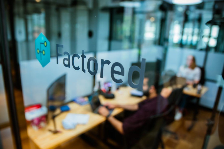 Factored logo on office window