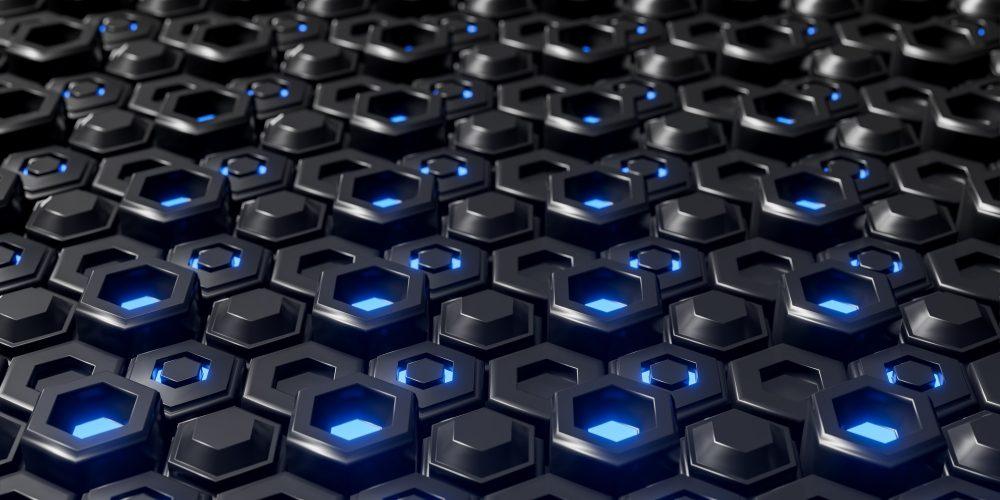 Abstract black hexagonal geometric layered